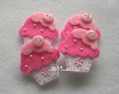 DOUBLE LAYERS Cupcake Felt Applique With Cute Button (white - pink) - Set of 4 pcs