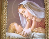 CLEARANCE -- Madonna adoring the Child Jesus Artwork
