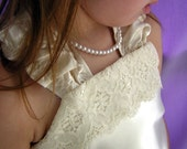 Ivory Satin and Antique Lace Flower Girl Dress Size 2t - 6