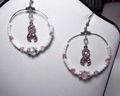 Breast Cancer Earrings Swarovski Pink Crystals Silver Hoop Dangle