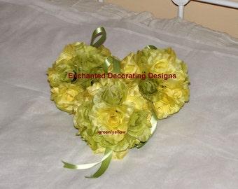 Kissing balls for weddings lot of 3 open rose 6 inch Wedding Flower Decoration Kissing Ball silk flower centerpieces pomander balls