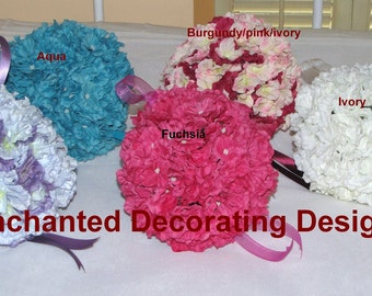 "Silk Flower Kissing Ball 6"" Hydrangea Pomander Ball Wedding centerpiece wedding pew decorations wedding centerpiece silk flower"