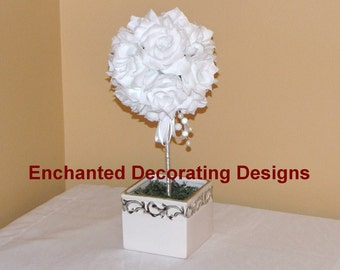 Wedding centerpiece Pomander Ball Open rose topiary Wedding Flower Decoration Kissing Ball Centerpiece wedding silk flower centerpiece