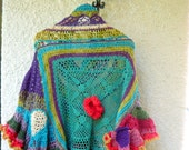 Flores Gypsy freeform crochet poncho reserved for Pammie