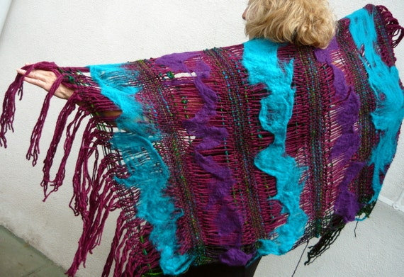 Eggplant Open Weave Felted Shawl