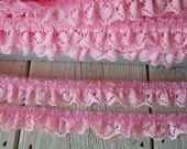 PINK  Ruffled Lace Trim 5/8 inch -6 yards for 2.99