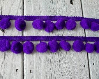 Pom Pom Trim-Purple- 1/2 inch ball-2 yards