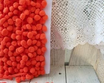 Pom Pom Trim Orange-2 yards-1/2 inch Ball