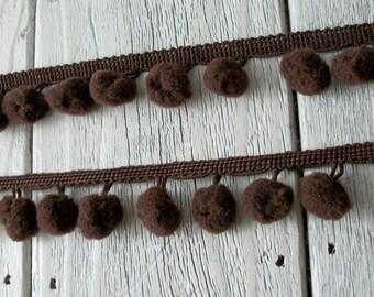 Pom Pom Trim-Chocolate-1/2 inch ball-2 yards for 2.89
