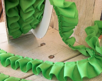 Box Pleated Grosgrain Ribbon APPLE GREEN- 2 yards-7/8 inches