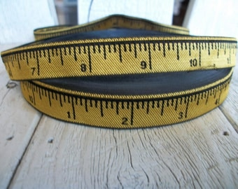 YELLOW MEASURING TAPE Ribbon Trim 5/8 inches wide-3 yards