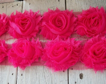 Shabby Chic HOT PINK Rose Trim on Net-2 1/2 inch- 1 yard