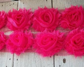 Shabby Chic HOT PINK Rose Trim on Net-2 1/2 inch- 1/2 yard