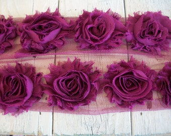 Shabby Chic PLUM Rose Trim-2 1/2 inches-1/2 yard