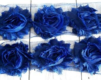 Chiffon Shabby Chic Rose Trim in ROYAL BLUE 2 1/2 inch-1/2 yard