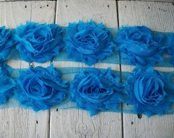 Chiffon Shabby Chic Rose Trim in BLUE BIRD -2 1/2 inches-1/2 yard piece