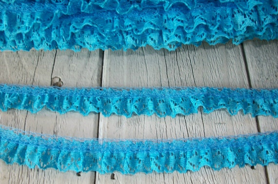 TURQUOISE Ruffled Lace Trim 5/8 inch -6 yards for 2.99
