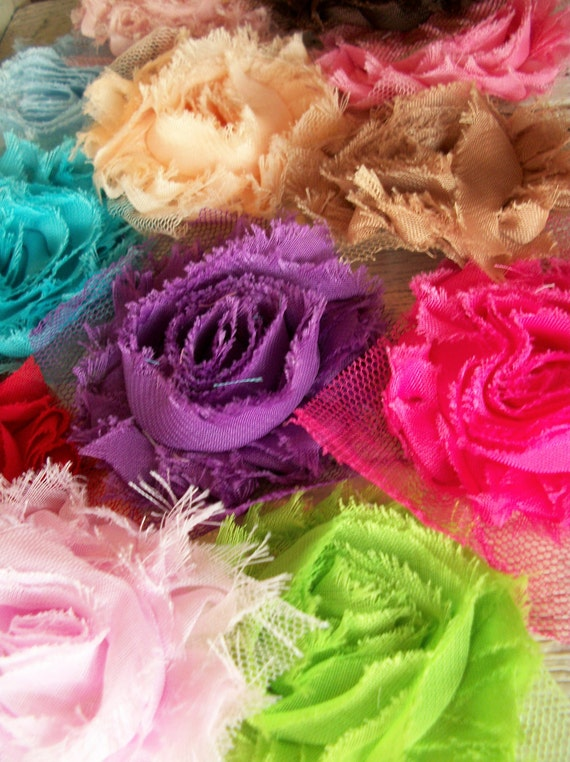 Chiffon Shabby Rose Trim-20 Rosettes-2 1/2 inches YOUR CHOICE of COLORS