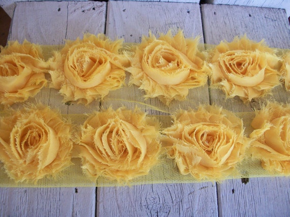 Chiffon Shabby Chic Rose Trim in GOLDEN YELLOW 2 1/2 inch-1/2 yard