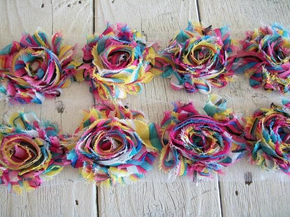 Sale-Shabby  RAINBOW Rose Trim-2 1/2 inches-1/2 yard