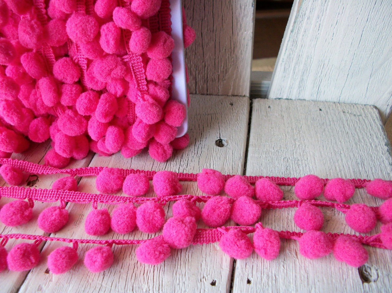 Pom Pom Trim-Rose Pink-2 yards-1/2 inch Ball from ...