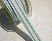 "Cotton Striped Trim Aqua - May Arts Ribbons - Sewing Crafting - 5/8"" - 3 Yards"