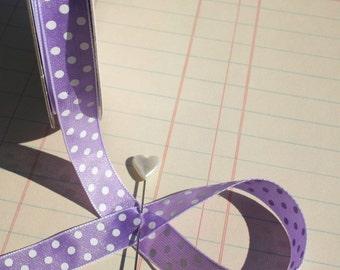 "Purple Polka Dot Trim - Lavender White Dots - Crafting Ribbon - 1/2"" Wide - 15 Yards - Last of Spool - DESTASH SALE"