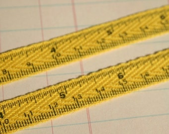 "Twill Yellow Measuring Tape - Cotton Sewing Crafting Twill - 1/2"" Wide"