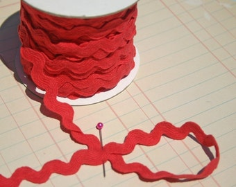 "Red Rick Rack - Coral Red - Cotton Sewing Ric Rac Trim - 1/2"" - 6 Yards - VALENTINES DAY TRIM"
