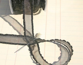 "Sheer Ruffled Black Lace Trim - May Arts Ribbons - 5/8"" Wide - 26 Yards - LAST OF SPOOL"