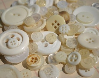 White Buttons - Assorted White Button - Bulk Sewing Buttons - 100 Buttons - Cotton Fields