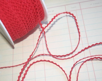 "RED Mini Rick Rack - Crafting Packaging Narrow Ric Rac Trim - 11/64"" Wide - 10 Yards"