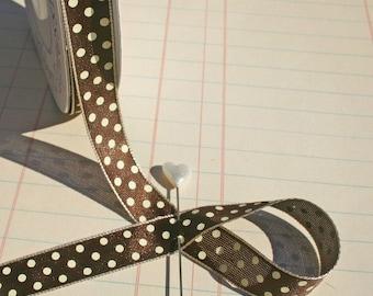 "Polka Dot Brown Cream Trim - Crafting Ribbon - 1/2"" Wide - 13 Yards - Destash Sale - LAST OF SPOOL"