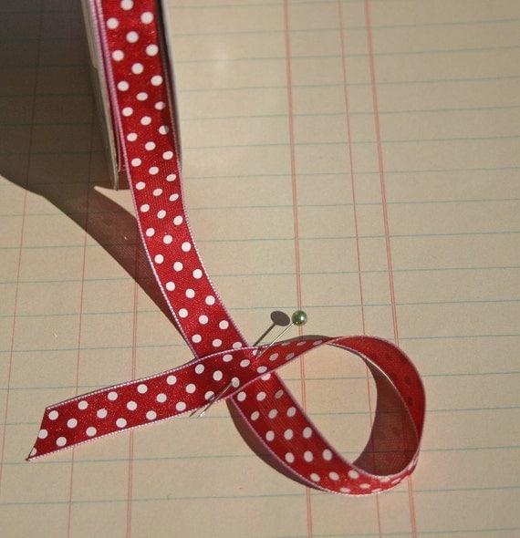 "Red Polka Dot Trim - Crafting Polka Dots Ribbon - 1/2"" Wide - 16 Yards - Last of Spool - DESTASH SALE"