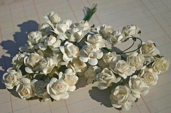 Ivory White Millinery Paper Roses - 3 Dozen - Collage Embellishments