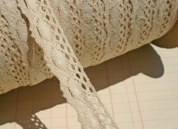 Cluny Trim Off White Cream Tea-Stained - 5 1/2 Yards - Sewing Embellishments - LAST OF SPOOL