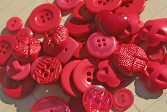 Dark Pink Buttons Assorted Round - Sewing Scrapbooking Embellishments - Raspberries - LAST PACK