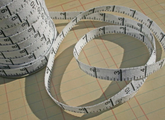"""Twill White Black Measure Tape - Vertical Print - Double Sided Printed Twill Tape - 3/8"""" - 3 Yards"""
