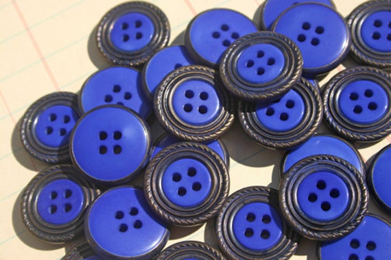 Assorted Buttons Blue Hand Dyed - METAL RIMMED Sewing Embellishments -Dazzling Blue