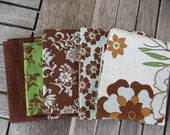 FIVE Soiree Fat Quarters in blue, brown and green