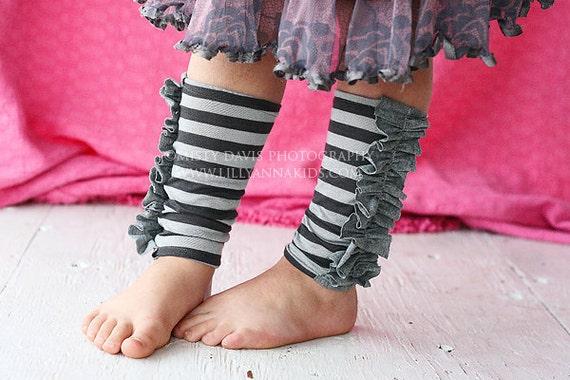 Grey Striped Knit Ruffled Legwarmers Girls