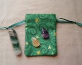 Green Spirals and Stars Cotton Pouches Set of Three Different Sizes