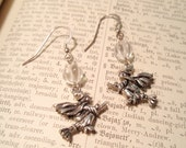 Quartz Crystal Flying Witch Sterling Silver Earrings