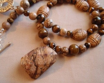 Scarab Picture Jasper and Tigers Eye Gemstone Necklace