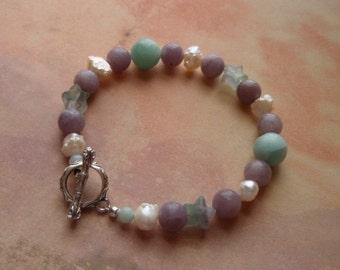 Wishing Star - Amazonite Lavender Stone Pearl and Fluorite Bracelet