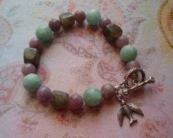 Spring Bloom - Amazonite Lilac Stone and Labradorite Bird Charm Toggle Clasp Bracelet