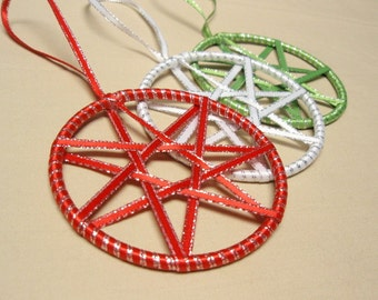 Faerie Ribbon Stars - Set of 3 Red White and Green Yule or Christmas Ornaments