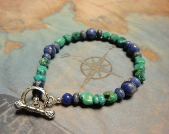 Turquoise and Sodalite Gemstone Bracelet - Toggle Clasp