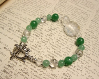 Turtle Totem Bracelet  - Green Aventurine and Clear Quartz Gemstone Beaded Bracelet with Toggle Clasp