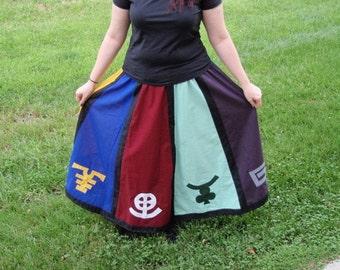 Sabbat Wheel of the Year Skirt - Medium Elastic Waistband Cotton Fabric